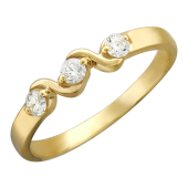 Кольцо Волна с бриллиантами, желтое золото