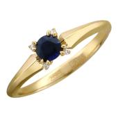 Кольцо с бриллиантами и драгоценным камнем, желтое золото