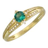 Кольцо Дорожка бриллиантов с круглым Изумрудом, желтое золото