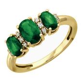 Кольцо с изумрудами и бриллиантами из желтого золота 585 пробы