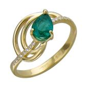 Кольцо с изумрудом и бриллиантами, желтое золото