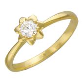 Кольцо Звезда с бриллиантом, желтое золото
