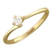 Кольцо с бриллиантом классическое, желтое золото