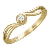 Кольцо Волна с бриллиантом, желтое золото