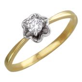 Кольцо Роза с бриллиантами, желтое золото