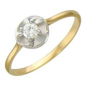Кольцо Цветок с бриллиантом, желтое золото