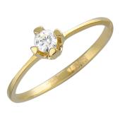Кольцо помолвочное с бриллиантом, желтое золото