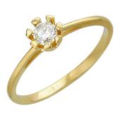 Кольцо с бриллиантом, крепеж-сердечко, желтое золото