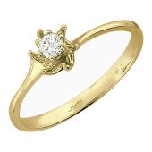 Кольцо Ракушка с бриллиантом, желтое золото