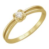 Кольцо с одним бриллиантом в лепестках, желтое золото