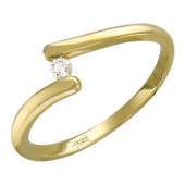 Кольцо с бриллиантами, желтое золото