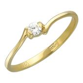 Кольцо с бриллиантом, желтое золото