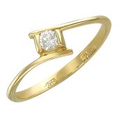 Кольцо с бриллиантом в квадратной оправе, желтое золото