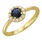 Кольцо с круглым изумрудом и бриллиантами вокруг, желтое золото