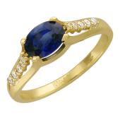 Кольцо с овальным изумрудом и дорожкой бриллиантов, желтое золото