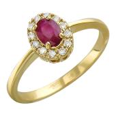 Кольцо Леди Ди с бриллиантами и овальным сапфиром (изумрудом, рубином), желтое золото