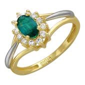 Кольцо Королевское с овальным изумрудом и бриллиантами, желтое золото