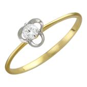 Кольцо Трилистник с бриллиантом, желтое золото