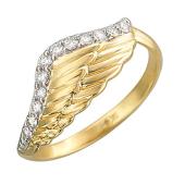 Кольцо Крыло Ангела с бриллиантами, желтое золото