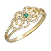 Кольцо Королевское с бриллиантами и изумрудом, желтое золото