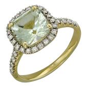 Кольцо с бриллиантами и большим аметистом кушен, желтое золото