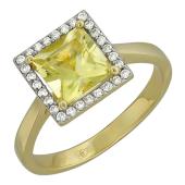 Кольцо с квадратным кварцем и бриллиантами, желтое золото