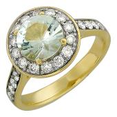 Кольцо с аметистом и бриллиантами, желтое золото