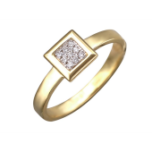Кольцо с бриллиантами в квадрате, желтое золото