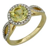 Кольцо с Гелиодором и бриллиантами, желтое золото