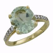 Кольцо с бриллиантами и большим овальным празиолитом, желтое золото