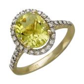Кольцо с лимонным кварцем и бриллиантами, желтое золото