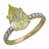 Кольцо с кварцем Груша и бриллиантами, желтое золото