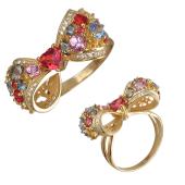Кольцо Бант с бриллиантам и фантазийными сапфирами, желтое золото 750 пробы