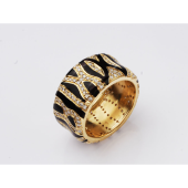 Кольцо Зебра с бриллиантами и черной эмалью, желтое золото 750 проба