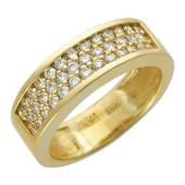 Кольцо Дорожка с 38 бриллиантами, желтое золото 750 проба