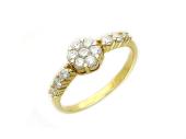 Кольцо Цветок с бриллиантами, желтое золото, 585 проба
