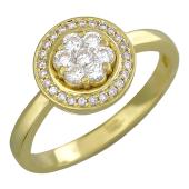 Кольцо с бриллиантами в круге, желтое золото 750 проба