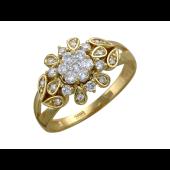 Кольцо Цветок с бриллиантами, желтое золото