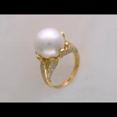 Кольцо с морским жемчугом и бриллиантами, желтое золото 750 проба