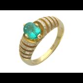 Кольцо с бриллиантами и изумрудом, желтое золото 750 проба