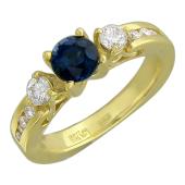 Кольцо с бриллиантами и круглым сапфиром, желтое золото 750 проба