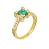 Кольцо с изумрудом и бриллиантами из желтого золота 585 пробы
