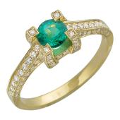 Кольцо с круглым изумрудом (рубином) и бриллиантами, желтое золото