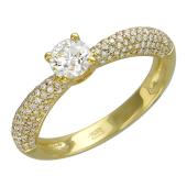 Кольцо с бриллиантом и россыпью бриллиантов, желтое золото 750 проба