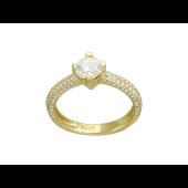 Кольцо с с большим бриллиантом и россыпью бриллиантов, желтое золото 750 проба