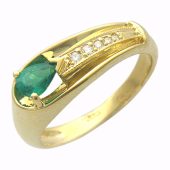 Кольцо с бриллиантами и изумрудом груша, желтое золото 750 проба