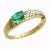 Кольцо с бриллиантами и изумрудом (сапфиром, рубином) груша, желтое золото 750 проба
