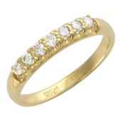 Кольцо Дорожка с бриллиантами, желтое золото 750 проба 3мм