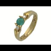 Кольцо с круглым изумрудом и бриллиантами, желтое золото 750 проба