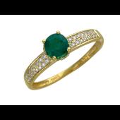 Кольцо с бриллиантами и круглым изумрудом, желтое золото 750 проба